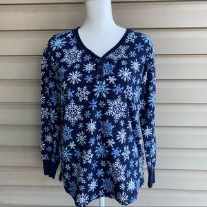 Nautica Top Long Sleeve Snowflake Pajama - Size Lg
